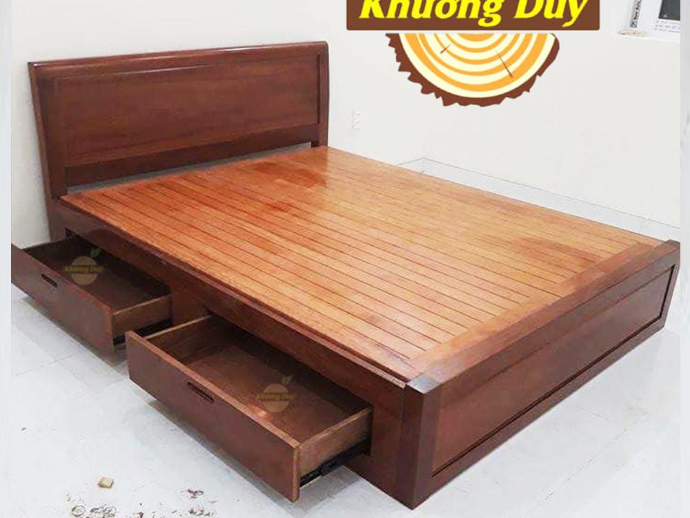 giường ngủ gỗ Xoan Đào 2 hộc kéo