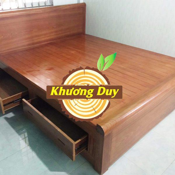 giường gỗ xoan đào có hộc kéo