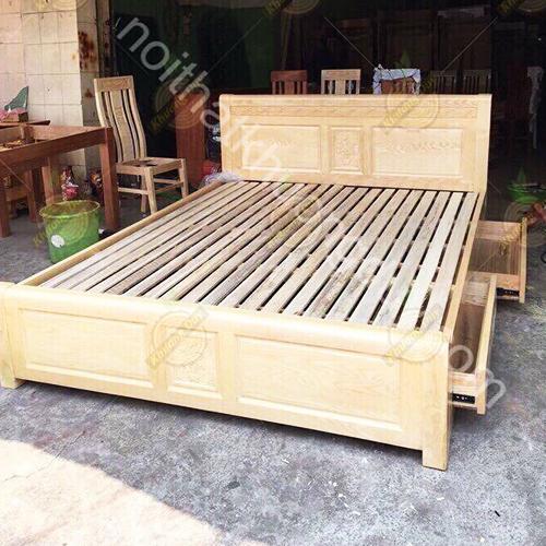 Giường ngủ gỗ Sồi 2 hộc kéo