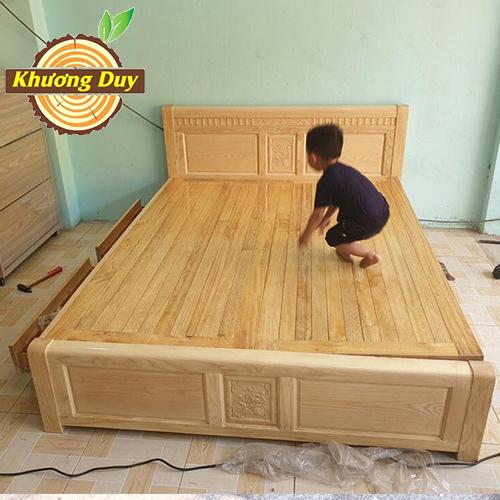 Giường gỗ Sồi 2 hộc kéo
