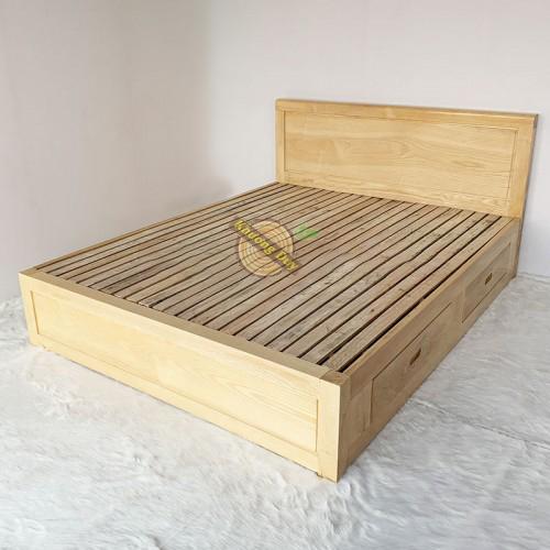 Giường ngủ gỗ Sồi Nga 2 hộc kéo