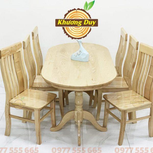 bàn ăn gỗ sồi 6 ghế hình oval