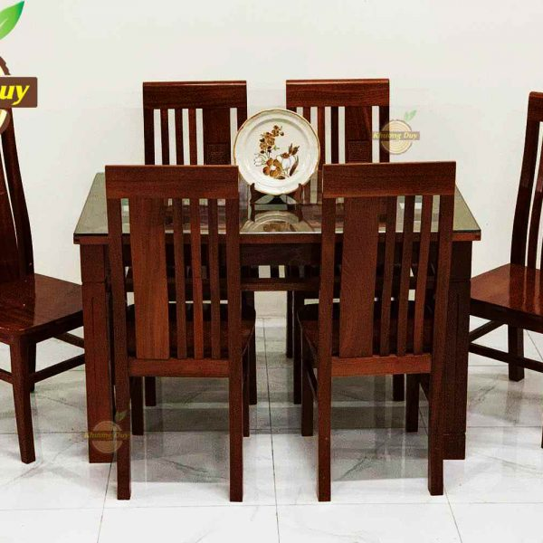 bàn ăn gỗ xoan đào giá rẻ 6 ghế