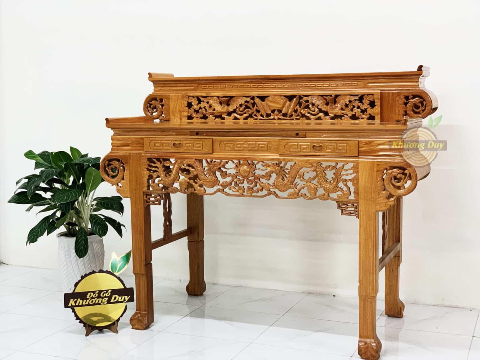 bàn thờ gia tiên gỗ gõ đỏ