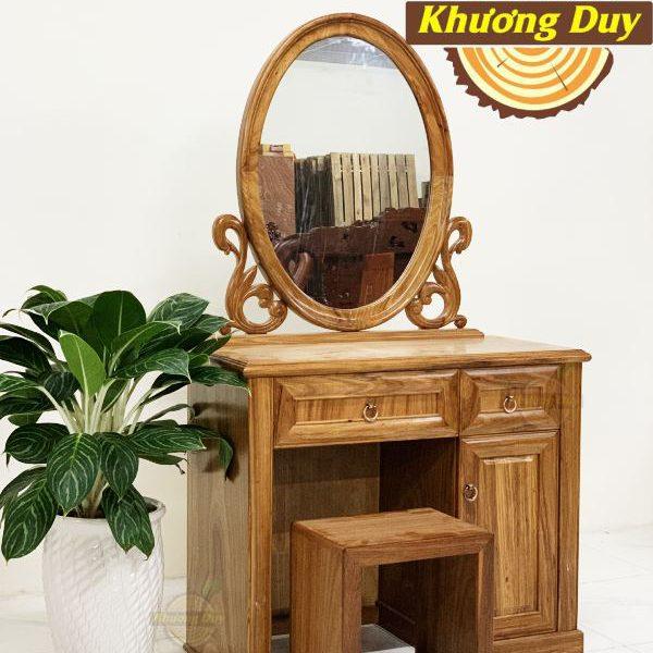 mẫu bàn trang điểm gỗ gương tròn