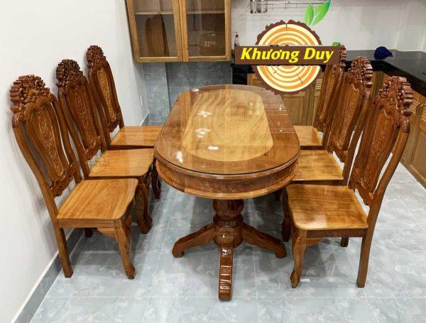 bộ bàn ăn gỗ căm xe 6 ghế