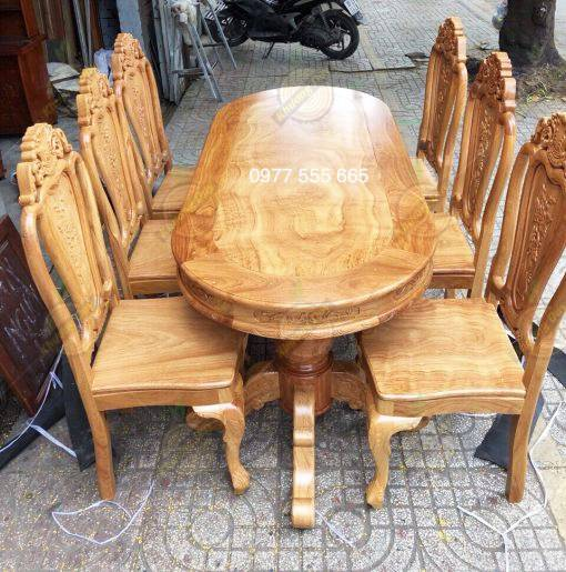 bộ bàn ăn gỗ gõ đỏ 6 ghế