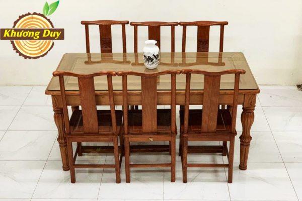 bộ bàn ăn gỗ sồi mỹ kiểu sang trọng