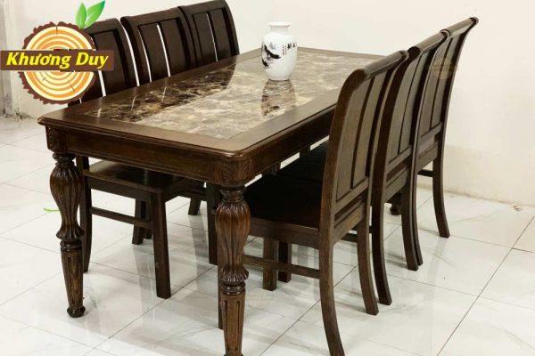 bộ bàn ăn gỗ sồi mỹ mặt đá