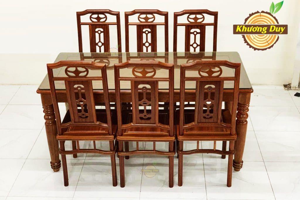 Bộ bàn ăn gỗ xoan đào đẹp KN17
