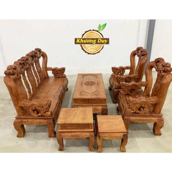 bộ bàn ghế phòng khách gỗ hương đá