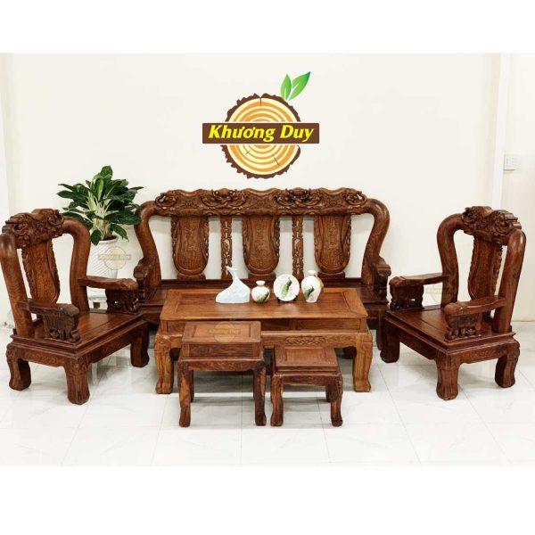 bộ bàn ghế phòng khách gỗ hương