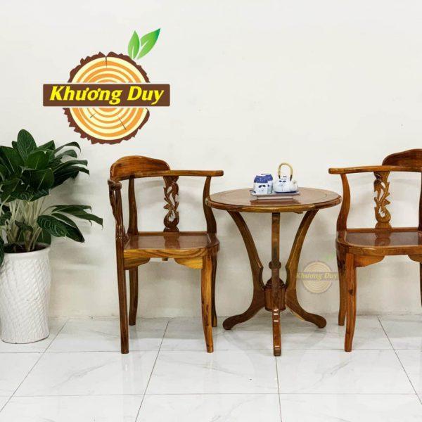 bộ bàn trà gỗ 2 ghế gỗ tràm