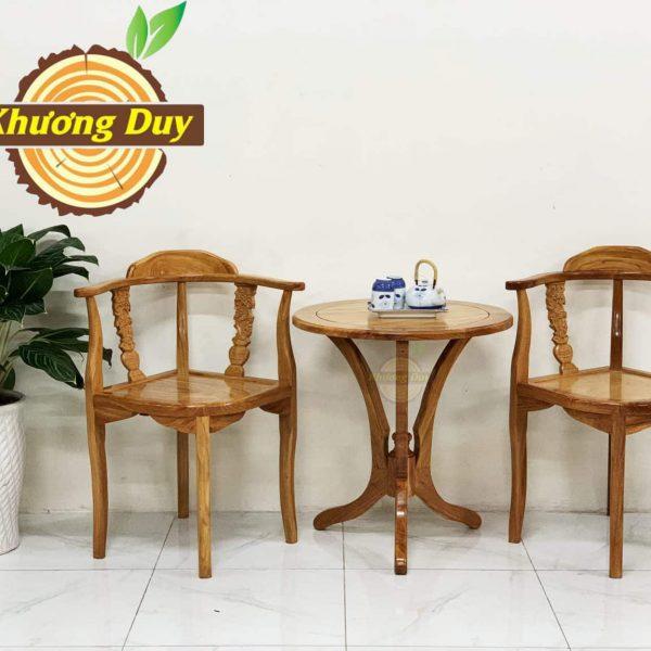 bộ bàn trà 2 ghế gỗ gõ đỏ