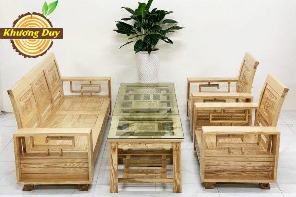 bộ bàn ghế phòng khách gỗ sồi giá rẻ