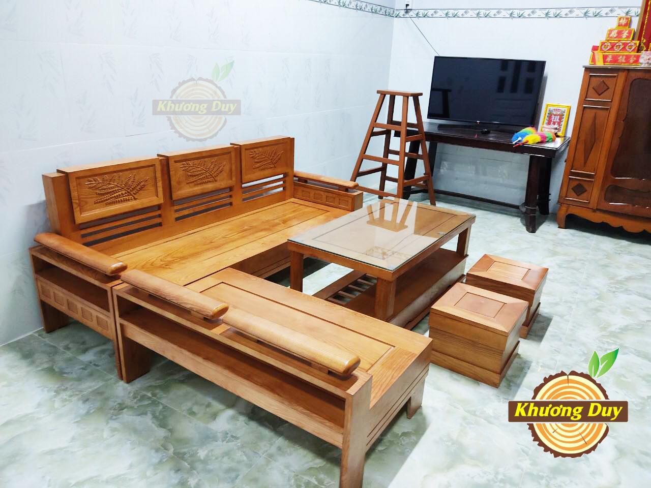 Sofa gỗ chữ L đẹp tại TPHCM