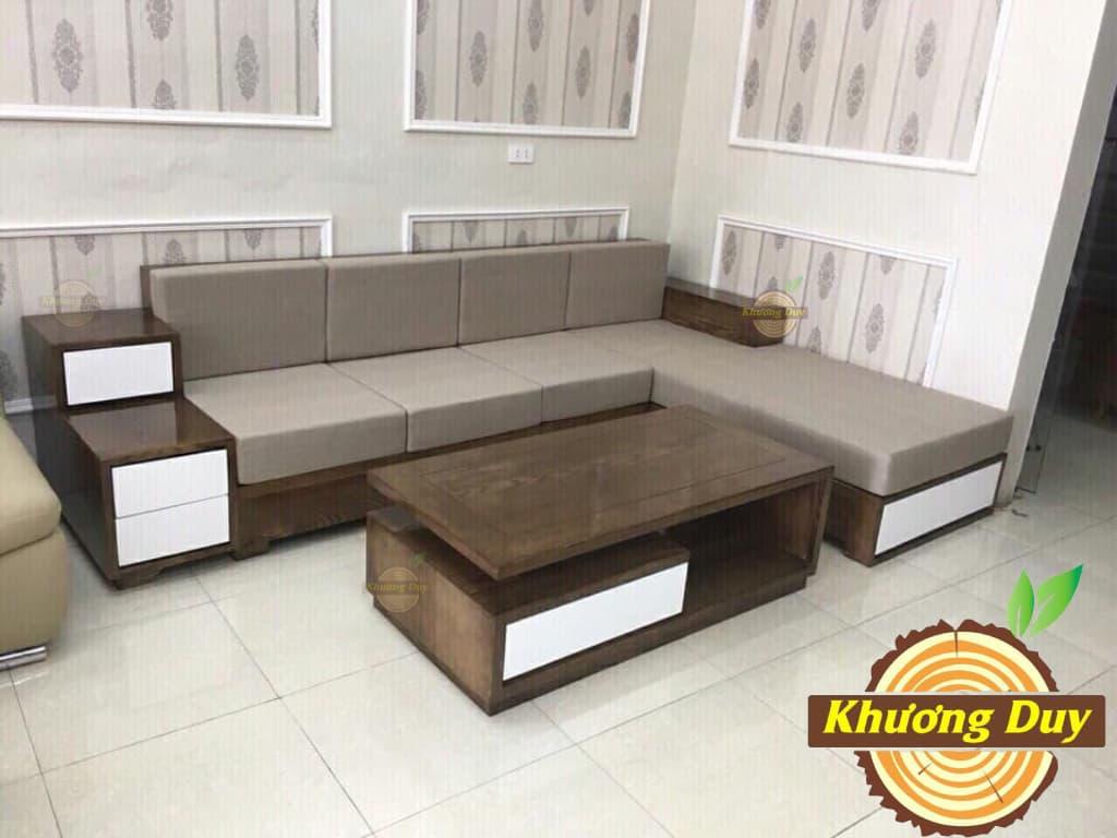 sofa góc từ gỗ tự nhiên