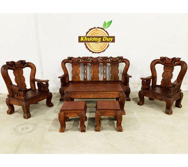 sofa gỗ tràm chạm đào