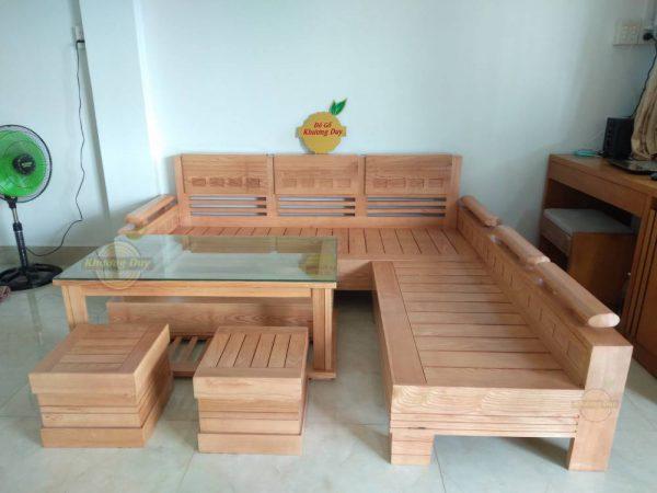 sofa góc gỗ sồi giá rẻ