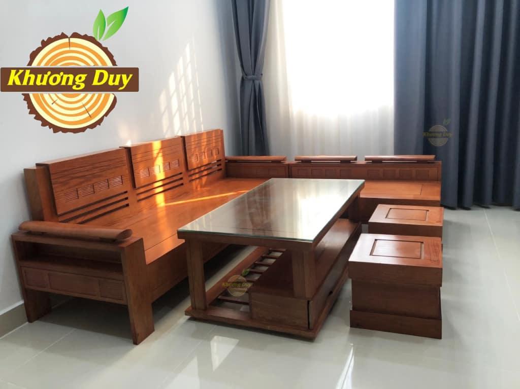 sofa góc gỗ sồi phòng khách