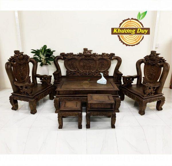 bộ sofa phòng khách gỗ mun