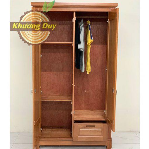 tủ quần áo 2 cánh gỗ xoan đào 1m2