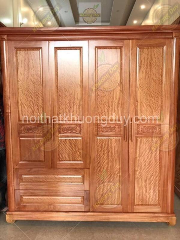 mẫu tủ quần áo gỗ xoan đào 4 cánh đẹp