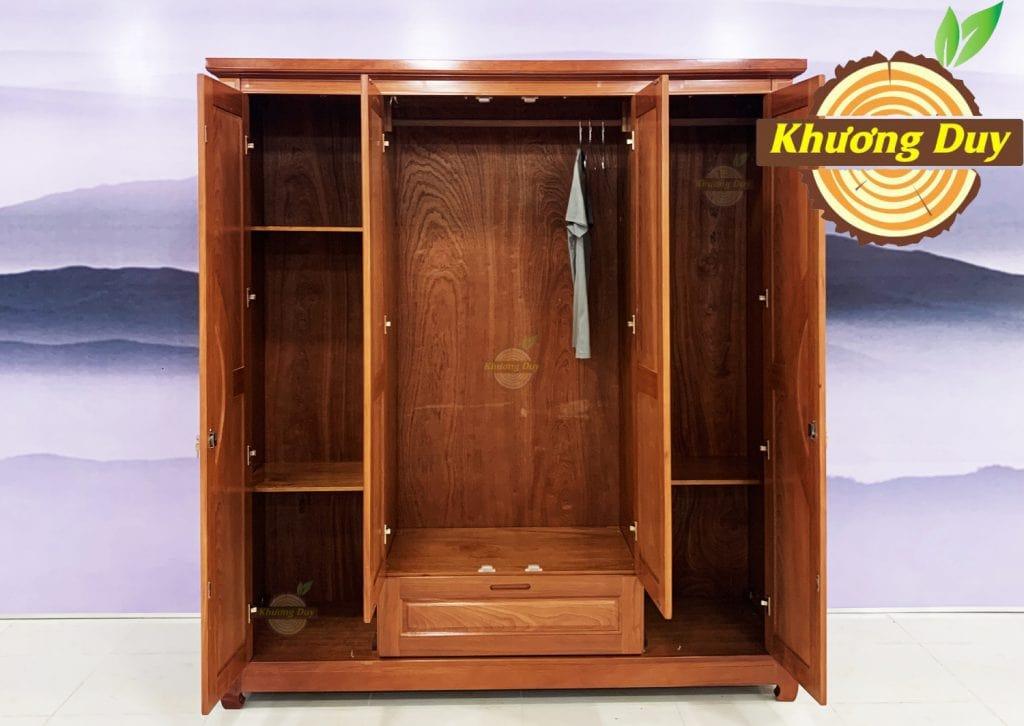 tủ quần áo gỗ xoan đào 2m