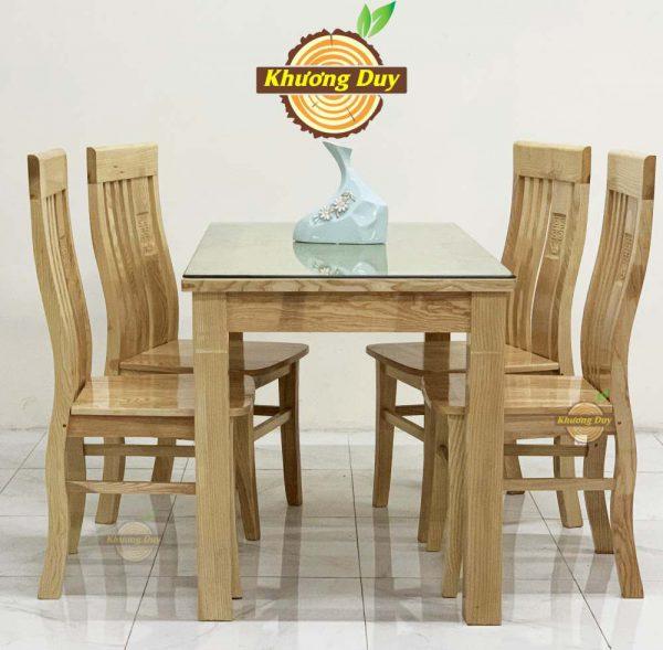 bàn ăn gỗ sồi 4 ghế mặt liền