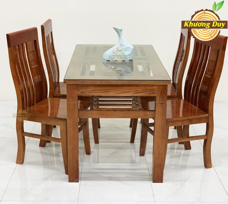 Bộ bàn ăn gỗ sồi 4 ghế giá rẻ