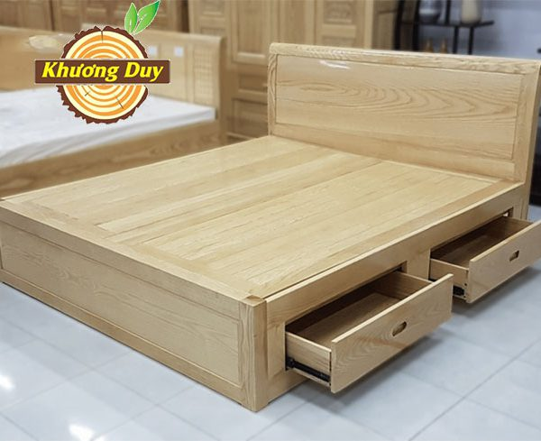 giường ngăn kéo gỗ sồi giá rẻ