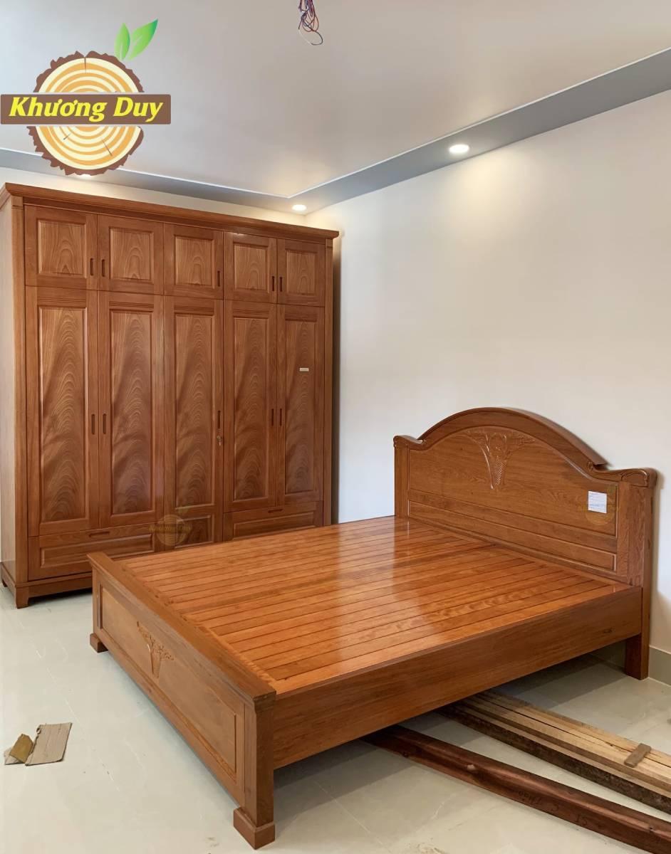 tủ quần áo 2 tầng gỗ xoan đào