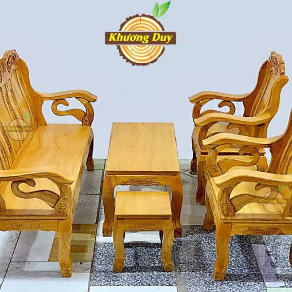 bộ bàn ghế phòng khách gỗ gõ