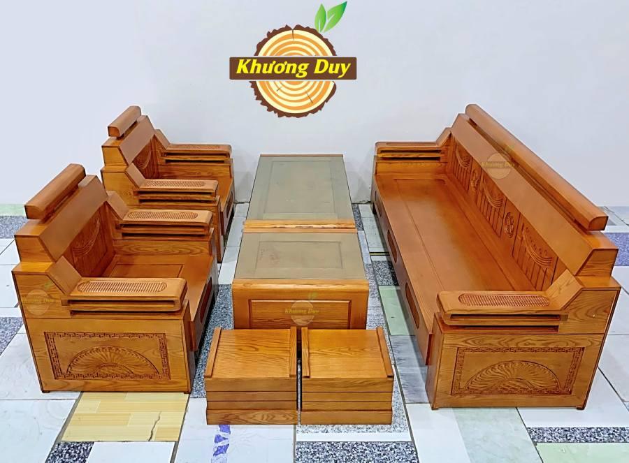 sofa gỗ sồi phòng khách